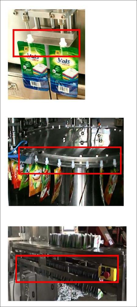fixed the pouch on the filling position of stand up spout pouches filling machine