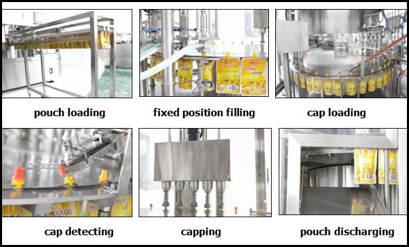 working process of spout pouch pack filling and capping machine
