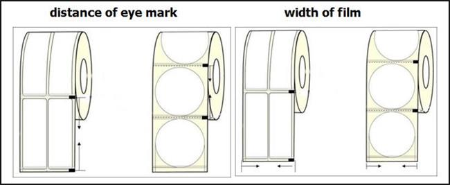 eye mark distance and width of packaging roll film